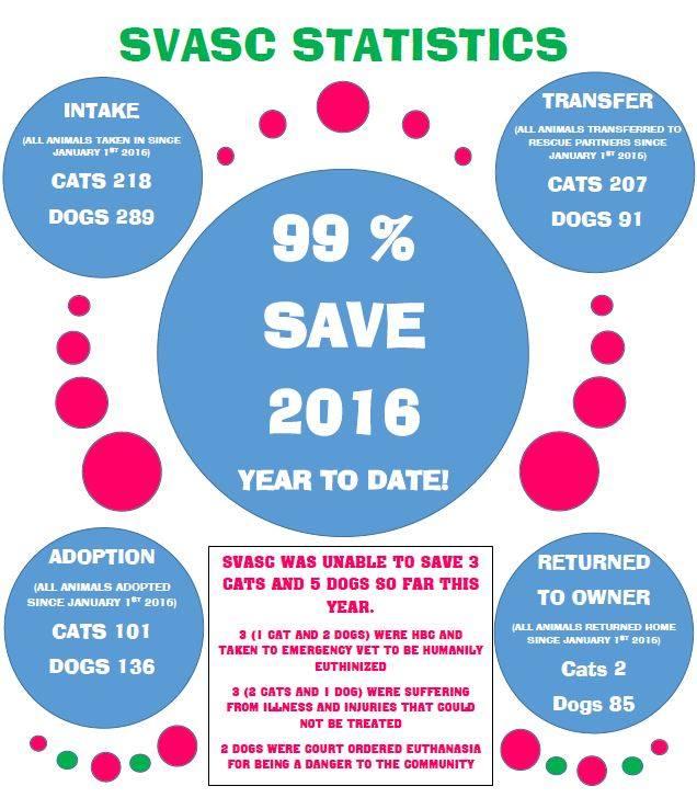 Shenandoah Valley Animal Shelter Stats for 2016