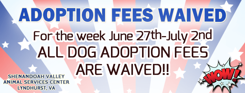 July 2016 Adoption Fee Waivered