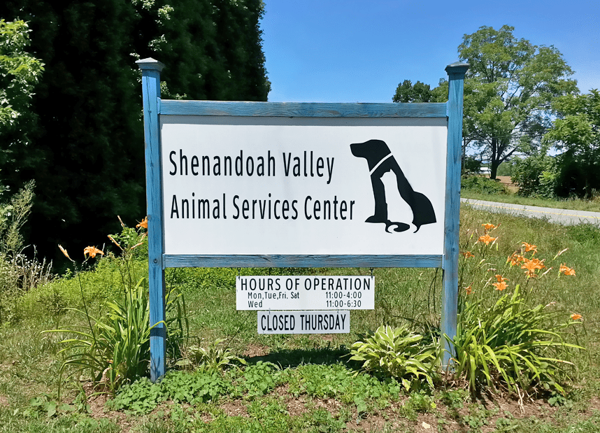 Shenandoah Valley Animal Services Center sign out front of shelter